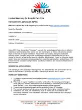 Unilux CRFC Homeowner Warranty Document